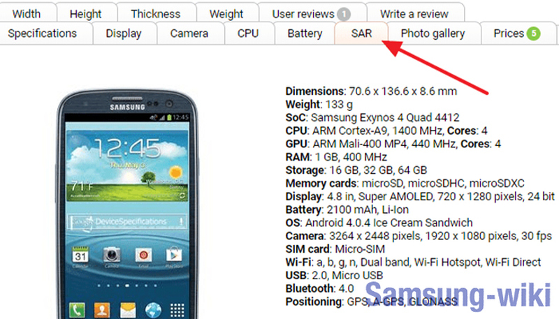 уровень sar мобильных телефонов таблица